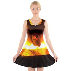 Fire Rays Mystical Burn Atmosphere V Neck Sleeveless Skater Dress