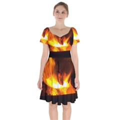 Fire Rays Mystical Burn Atmosphere Short Sleeve Bardot Dress