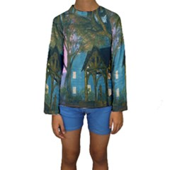 Background Forest Trees Nature Kids  Long Sleeve Swimwear