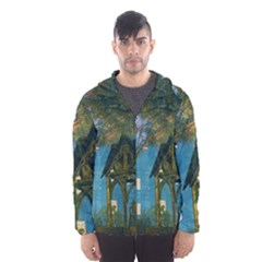 Background Forest Trees Nature Hooded Wind Breaker (men)