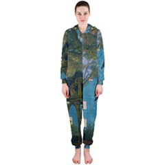 Background Forest Trees Nature Hooded Jumpsuit (ladies)