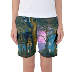 Background Forest Trees Nature Women s Basketball Shorts