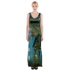 Background Forest Trees Nature Maxi Thigh Split Dress