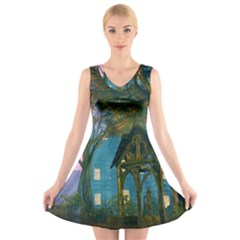 Background Forest Trees Nature V Neck Sleeveless Skater Dress