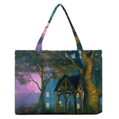 Background Forest Trees Nature Medium Zipper Tote Bag