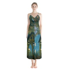 Background Forest Trees Nature Button Up Chiffon Maxi Dress