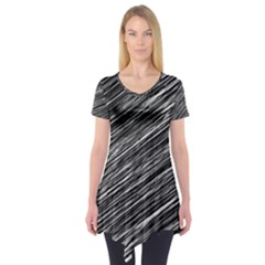 Background Structure Pattern Short Sleeve Tunic