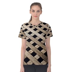 Texture Wood Flooring Brown Macro Women s Cotton Tee