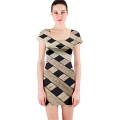 Texture Wood Flooring Brown Macro Short Sleeve Bodycon Dress