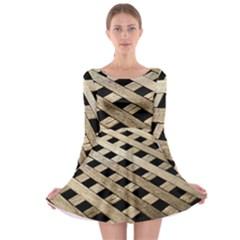 Texture Wood Flooring Brown Macro Long Sleeve Skater Dress