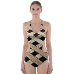 Texture Wood Flooring Brown Macro Cut Out One Piece Swimsuit
