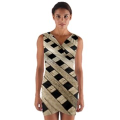 Texture Wood Flooring Brown Macro Wrap Front Bodycon Dress