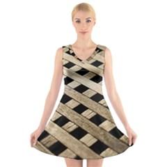 Texture Wood Flooring Brown Macro V Neck Sleeveless Skater Dress