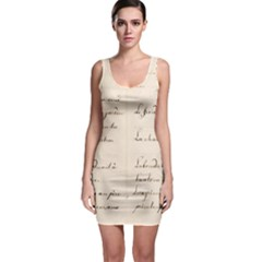 German French Lecture Writing Sleeveless Bodycon Dress