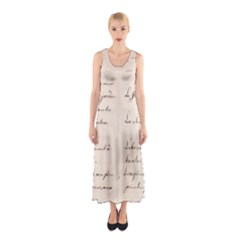 German French Lecture Writing Sleeveless Maxi Dress
