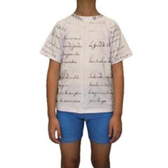 German French Lecture Writing Kids  Short Sleeve Swimwear
