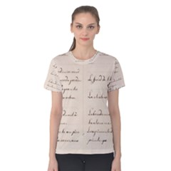 German French Lecture Writing Women s Cotton Tee