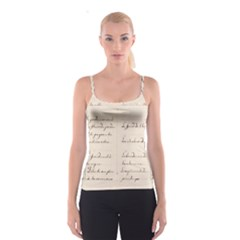German French Lecture Writing Spaghetti Strap Top
