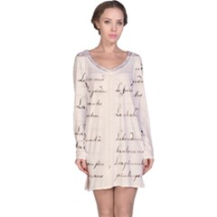 German French Lecture Writing Long Sleeve Nightdress