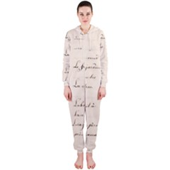 German French Lecture Writing Hooded Jumpsuit (ladies)