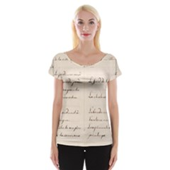 German French Lecture Writing Women s Cap Sleeve Top