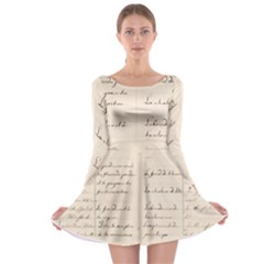 German French Lecture Writing Long Sleeve Skater Dress