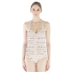 German French Lecture Writing Halter Swimsuit