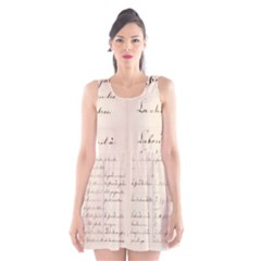 German French Lecture Writing Scoop Neck Skater Dress