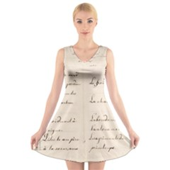 German French Lecture Writing V Neck Sleeveless Skater Dress