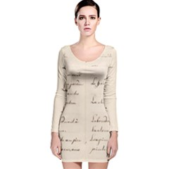 German French Lecture Writing Long Sleeve Velvet Bodycon Dress