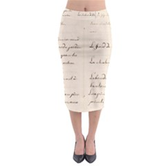 German French Lecture Writing Midi Pencil Skirt