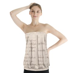 German French Lecture Writing Strapless Top