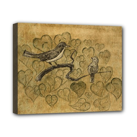 Birds Figure Old Brown Canvas 10  X 8