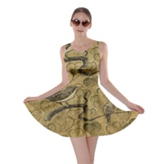 Birds Figure Old Brown Skater Dress