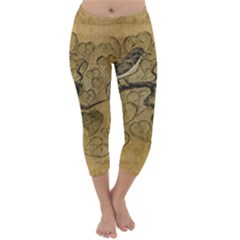 Birds Figure Old Brown Capri Winter Leggings