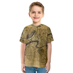 Birds Figure Old Brown Kids  Sport Mesh Tee