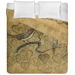 Birds Figure Old Brown Duvet Cover Double Side (california King Size)