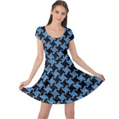 Houndstooth2 Black Marble & Blue Colored Pencil Cap Sleeve Dress