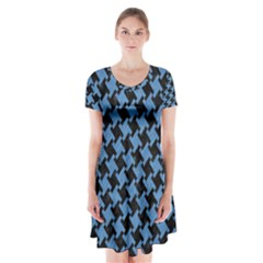 Houndstooth2 Black Marble & Blue Colored Pencil Short Sleeve V Neck Flare Dress