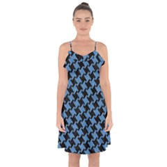Houndstooth2 Black Marble & Blue Colored Pencil Ruffle Detail Chiffon Dress