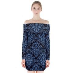 Damask1 Black Marble & Blue Colored Pencil Long Sleeve Off Shoulder Dress