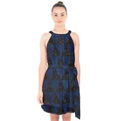 Triangle3 Black Marble & Blue Grunge Halter Collar Waist Tie Chiffon Dress