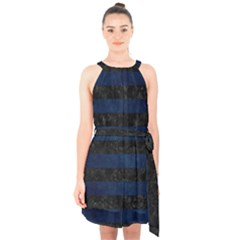 Stripes2 Black Marble & Blue Grunge Halter Collar Waist Tie Chiffon Dress