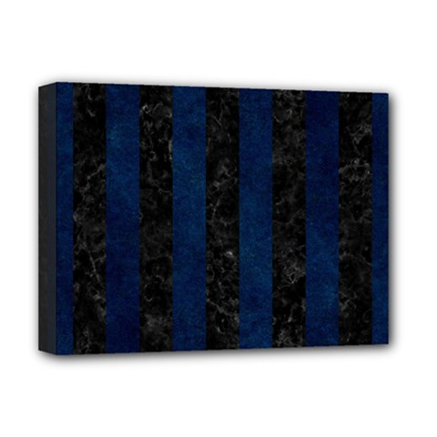 Stripes1 Black Marble & Blue Grunge Deluxe Canvas 16  X 12  (stretched)