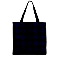 Square2 Black Marble & Blue Grunge Zipper Grocery Tote Bag