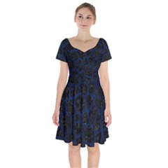 Skin1 Black Marble & Blue Grunge (r) Short Sleeve Bardot Dress