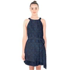 Scales2 Black Marble & Blue Grunge (r) Halter Collar Waist Tie Chiffon Dress