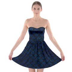 Scales1 Black Marble & Blue Grunge (r) Strapless Bra Top Dress