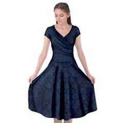 Scales1 Black Marble & Blue Grunge (r) Cap Sleeve Wrap Front Dress