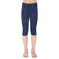 Royal1 Black Marble & Blue Grunge Kids  Capri Leggings